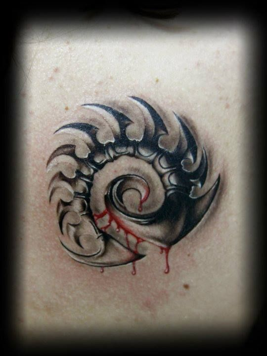 Sharp swirl with blood tattoo by bacanu bogdan tattoo for Are tattoos bad for your blood