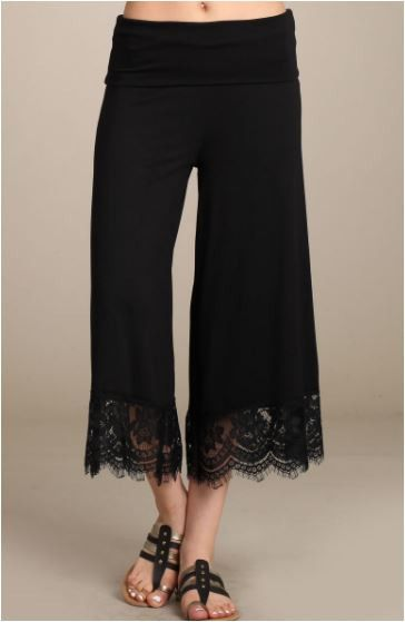 8432803b5de8b Chatoyant Black Lace Bell Bottom Soft Capri Pants - Black