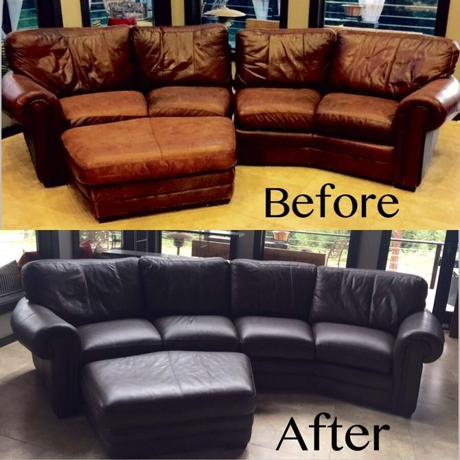 Dye a Leather Couch. The easiest  cheapest DIY Project ever  Turn your old worn out