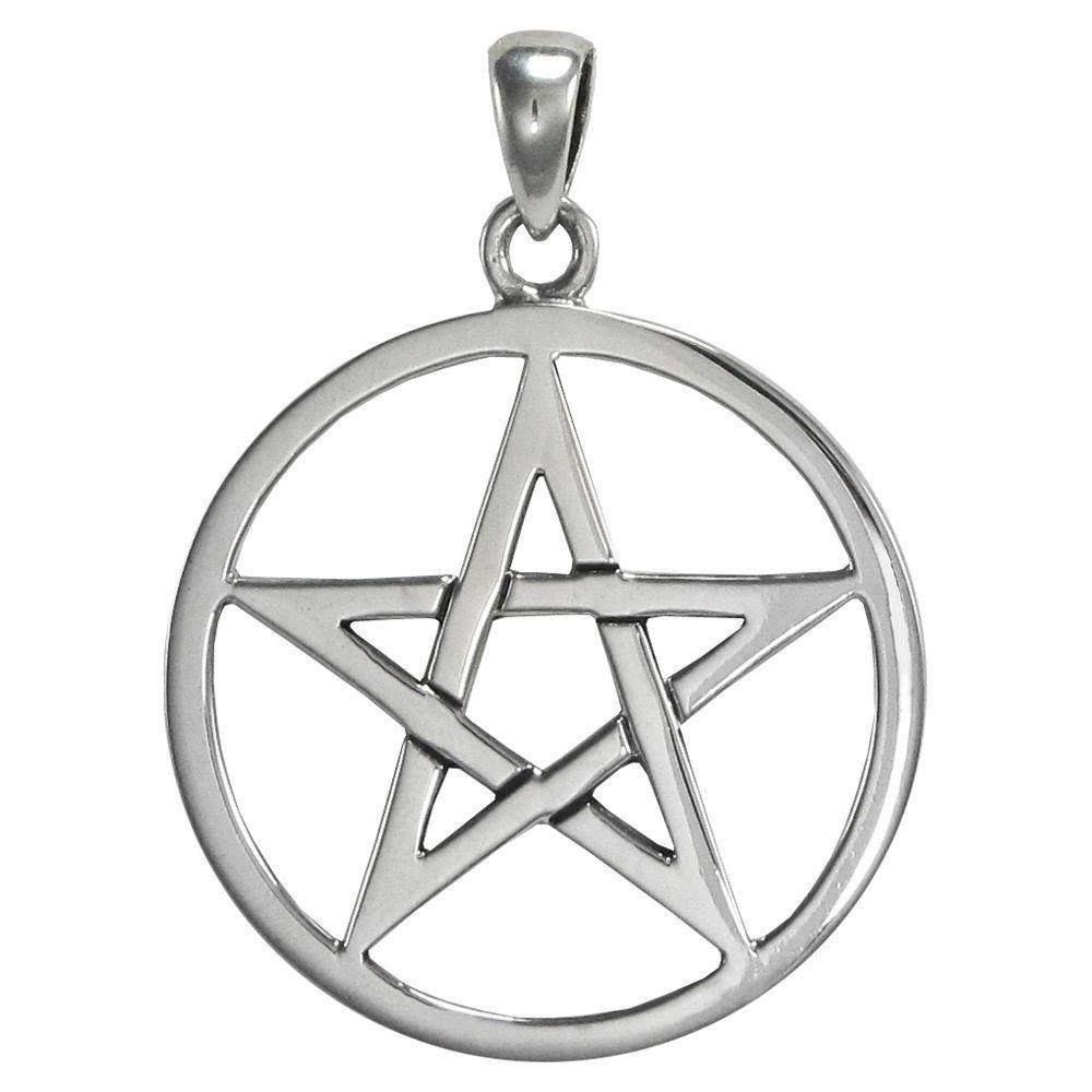 VINTAGE SOLID STERLING SILVER LADIES PENTOGRAM JEWISH STAR OF DAVID PENDANT