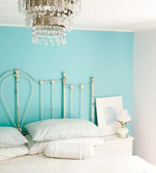 Teal Blue & White Shabby Bedroom