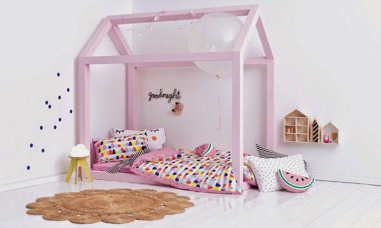 fabriquer lit cabane bois rose bonbon chambre fille kids - Lit Fille