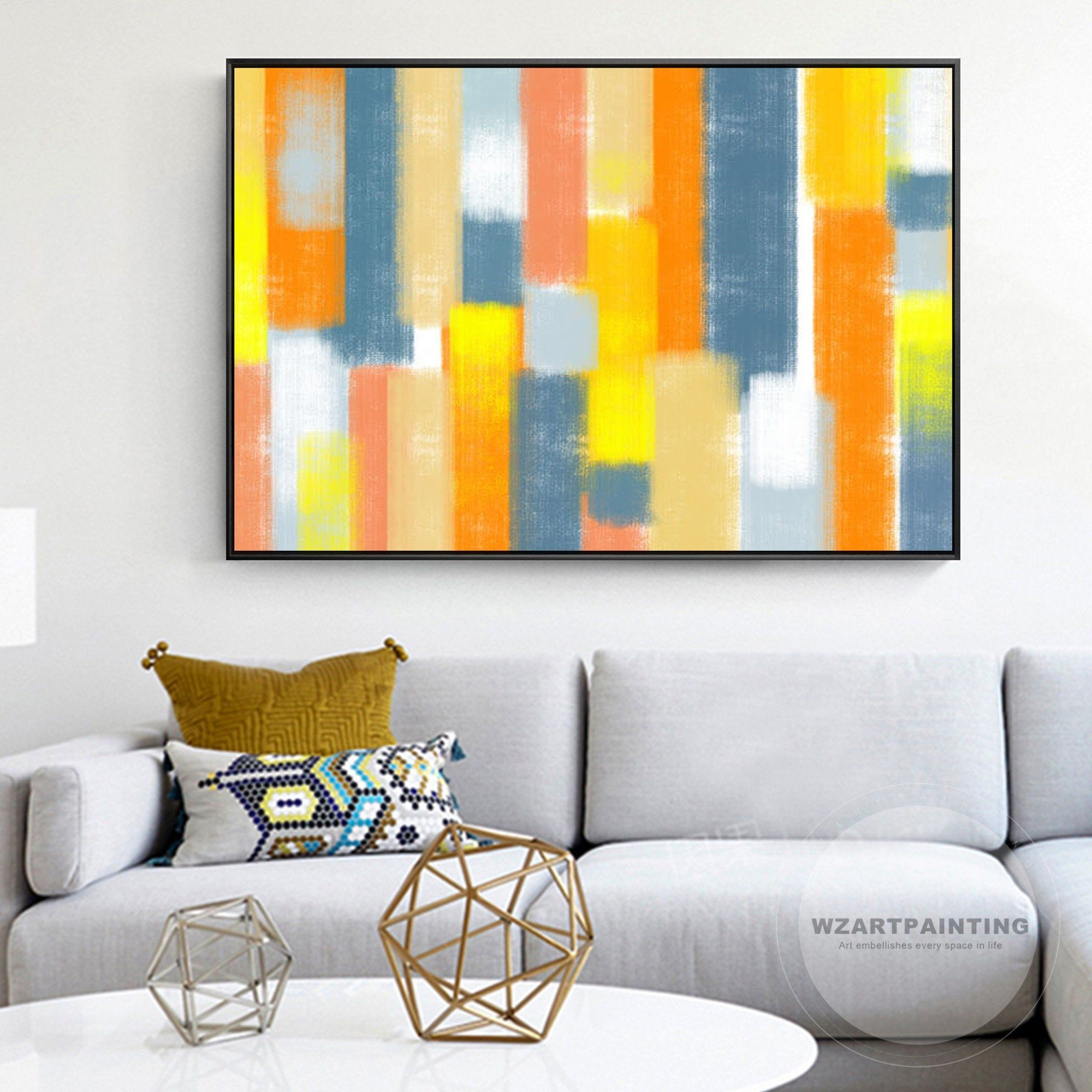 Modern Abstract Orange Blue White Wall Art Print Painting On Canvas Luxury Large Wall Art Picture Framed Liv White Wall Art Wall Decor Pictures Wall Art Prints