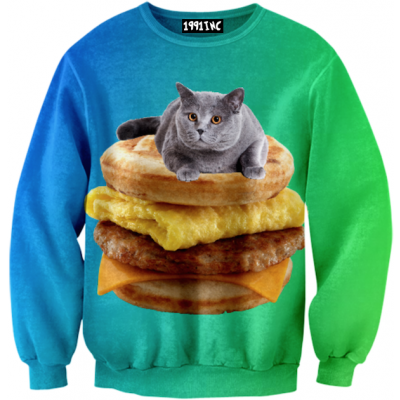BREAKFAST CAT SWEATER $58 - You can really buy these....