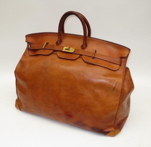 A Hermes 'Haut à Courroies' brown leather bag, circa 1950 ...