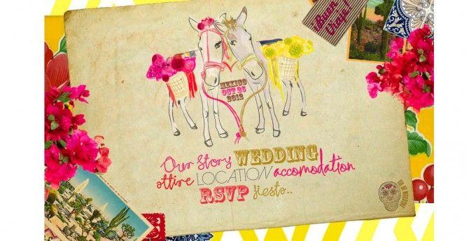 mexican wedding invitation - folk fiesta peasant print - pocket, Wedding invitations