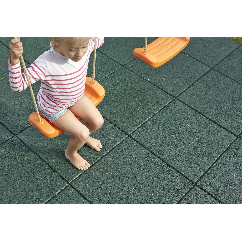 Dalle De Protection Piscine dalle de sécurité caoutchouc, vert, l.50 x l.50 cm | dalle