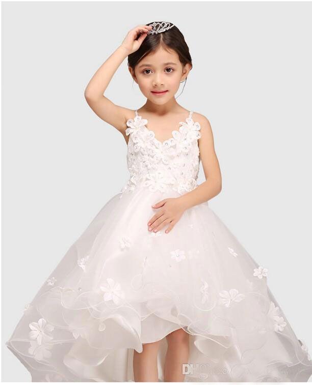 Click to buy sweet white spaghetti straps princess flower girl click to buy sweet white spaghetti straps princess flower girl dress for mightylinksfo