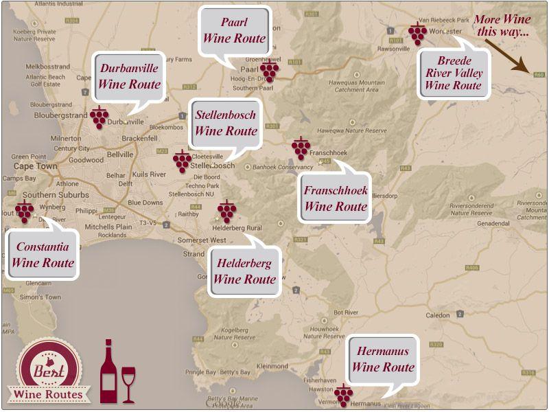 Western Cape Wine Routes Map Cape Town Pinterest Cape town