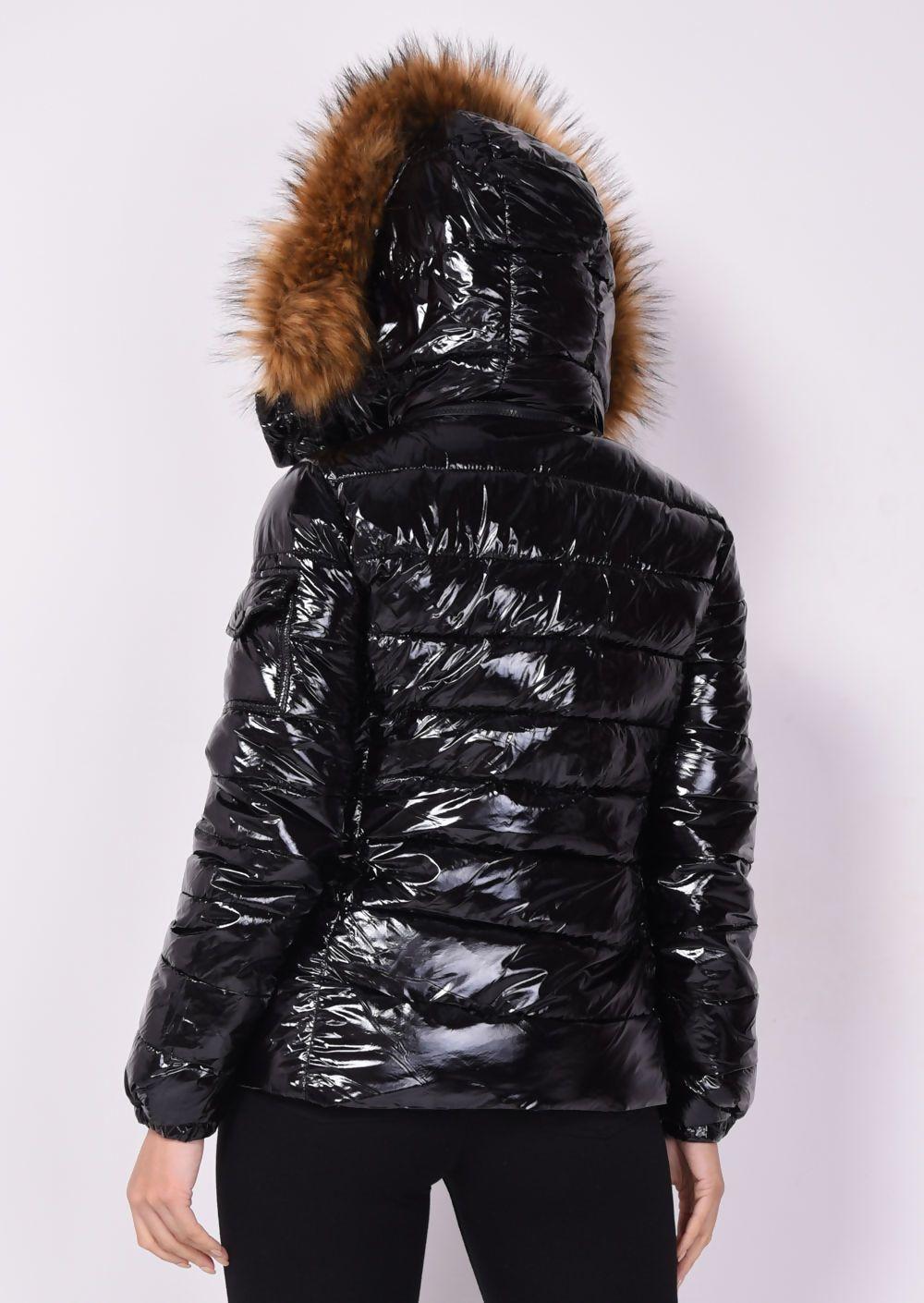 Wetlook Chunky Faux Fur Hooded Puffer Coat Black | Lily Lulu