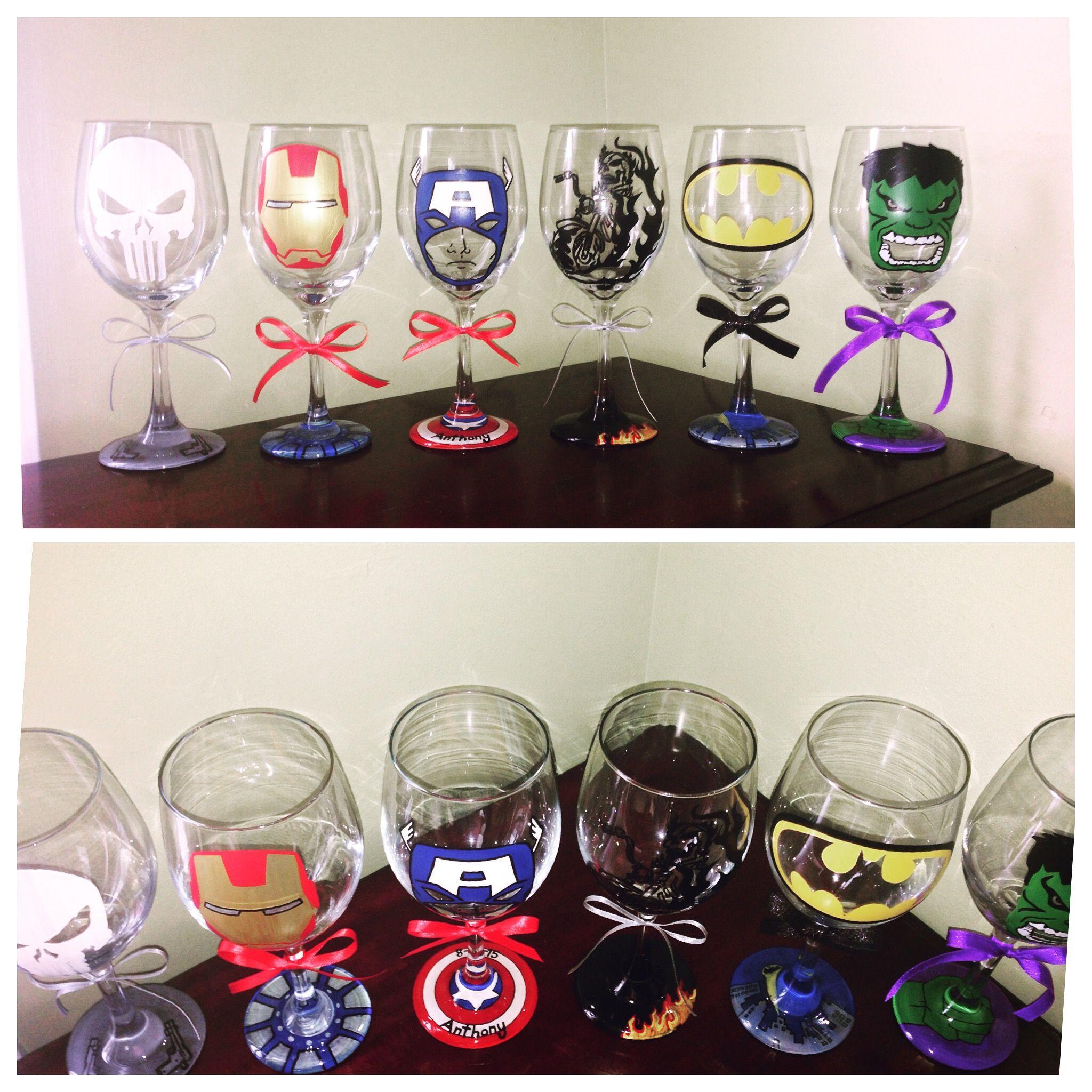 Matrimonio Tema Marvel : Hand painted superhero wine glasses marvel the punisher