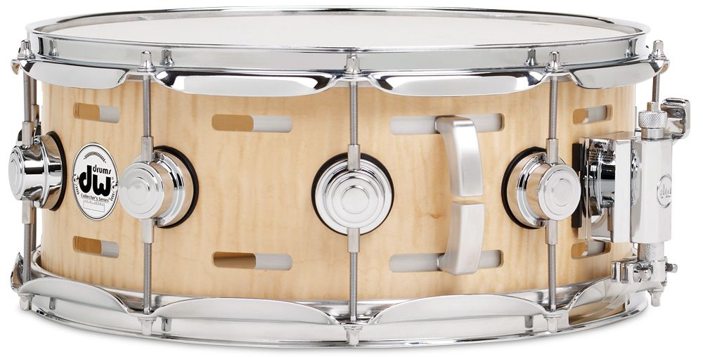 dw collector 39 s series acoustic eq snare natural satin oil finish over curly maple with chrome. Black Bedroom Furniture Sets. Home Design Ideas