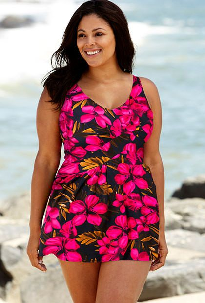 Beach Belle Oasis Plus Size  V-Neck Swimdress