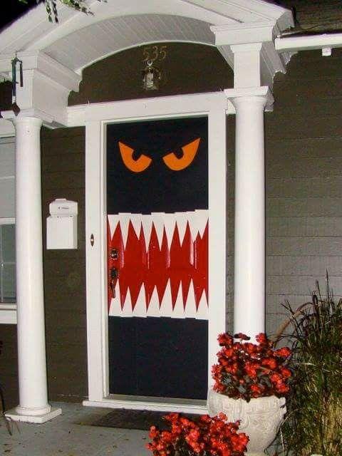 Monster door Interior design Pinterest Monster door - halloween homemade decoration ideas