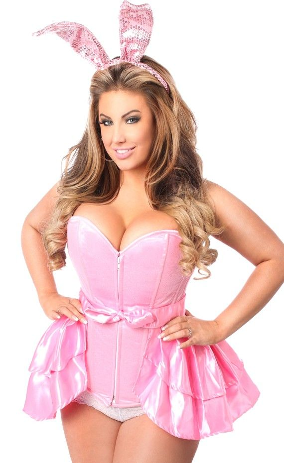 7377b861bf2 3 Piece Playful Pink Bunny Costume from Daisy Lavish collection. Includes a plus  size fullbust corset made of high quality satin with glitter net overlay.