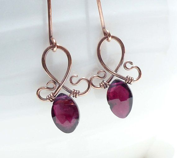 Red garnet earrings wire wrap copper by CreativityJewellery, $40.00