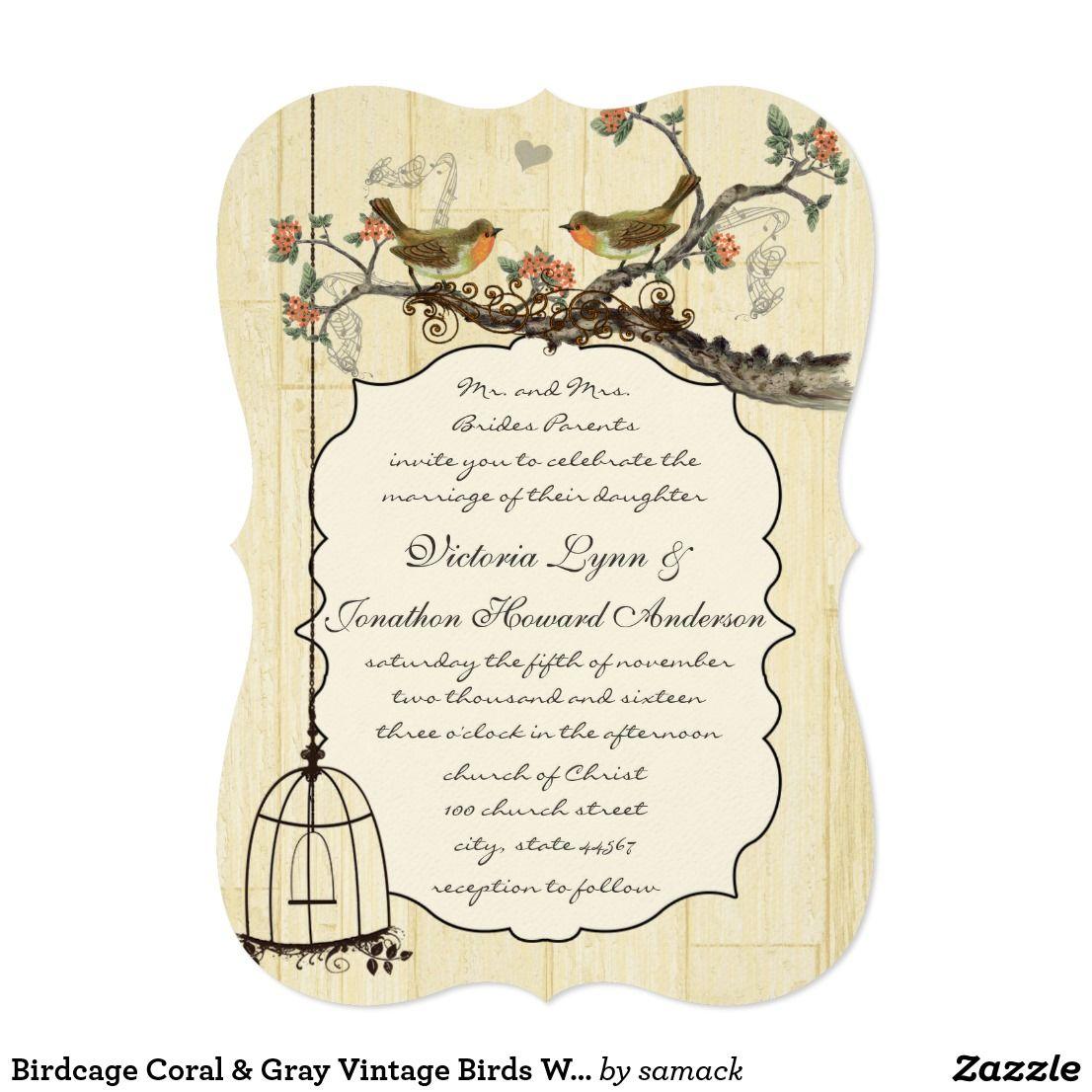 Birdcage Coral & Gray Vintage Birds Wedding Invite | Wedding and ...