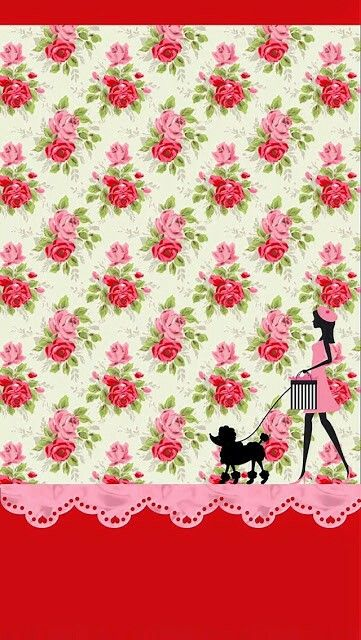 Pink And Red Roses Girl Poodle Wallpaper Lockscreen Wallpapers