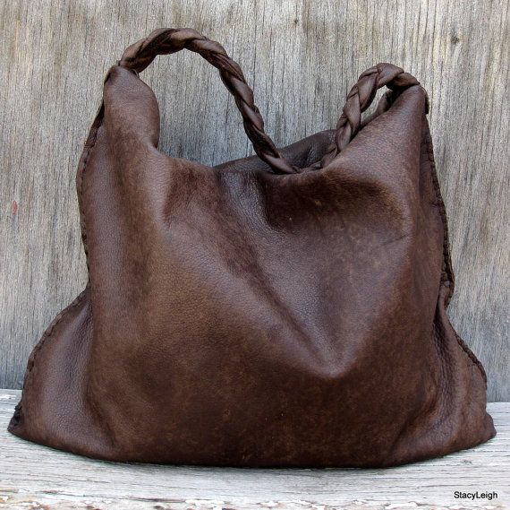 c3454ac6574e Distressed Brown Soft Slouchy Hobo Bag by Stacy Leigh
