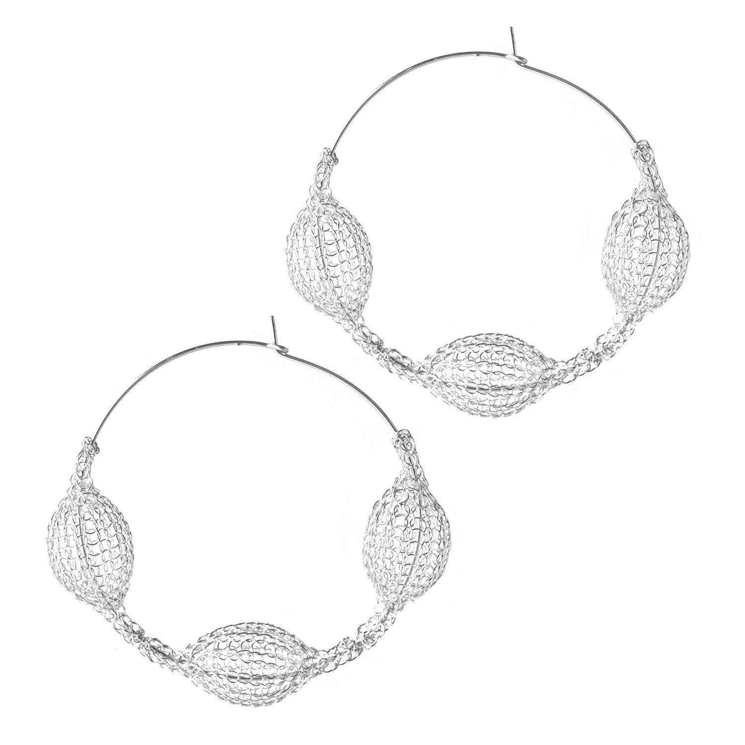 Silver Giant Three Pods Hoop Earrings Unique Fashion