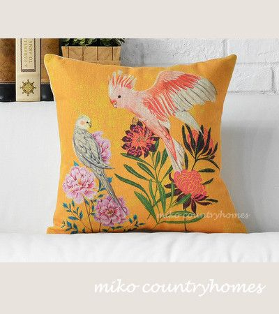"$15 | Parakeet | Bird Illustration | Decorative Pillow Cover | 45x45cm 18""x18"" #homedecor #throwpillows #pillowcover #parakeet #birds"