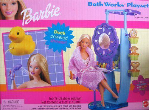 Barbie Bath Works Playset (2000) by Mattel Mattel http://www.amazon.es/dp/B00U2029PC/ref=cm_sw_r_pi_dp_DxXVwb1X8AY6S