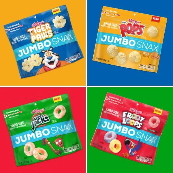 Coming Soon Kellogg S Jumbo Snax Kellogg S Has Introduced Jumbo Snax Snackable Jumbo Sized Versions Of Some Types Of Cereal Granola Cereal Caramel Flavoring