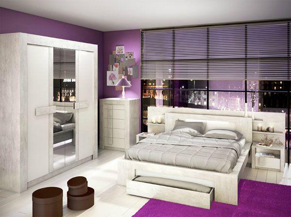 chambre blanc violet - Recherche Google chambre papa maman - chambres a coucher conforama