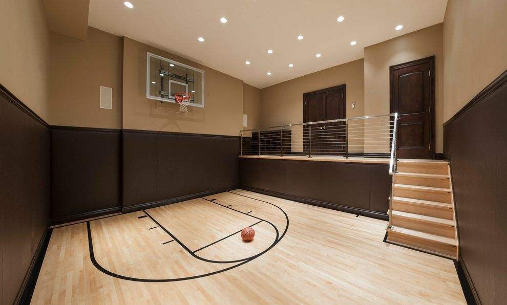 How Much Does A Basketball Court Cost With Contemporary Home Gym And Baseboards Basketball Court Basketba Home Basketball Court Contemporary House Maple Floors