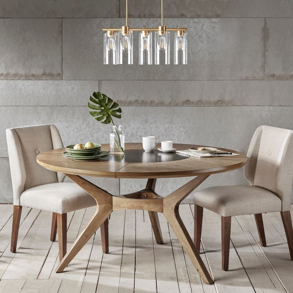 Inkivy metro natural oak round dining table