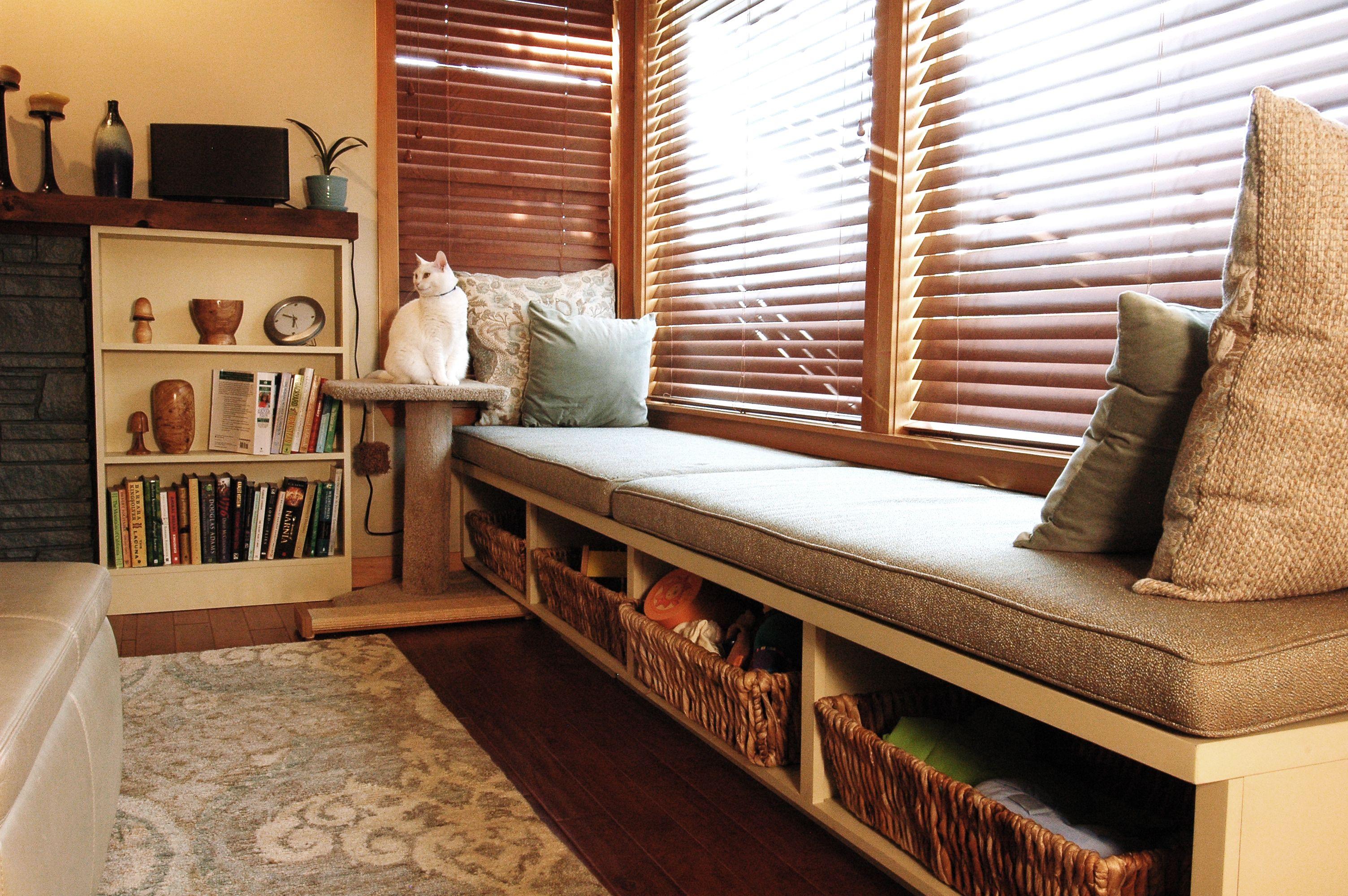 Window seat ideas living room  storage inspiration  using wicker baskets underneath window seating