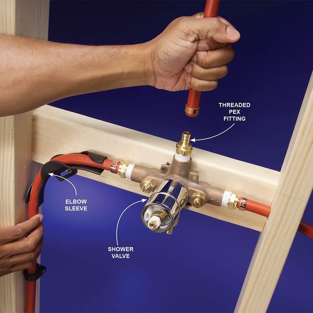 Pic Of Fittings for a Shower Valve Plumbing With PEX Tubing http