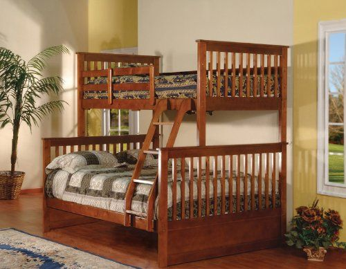 Walnut Finish Wood Twin Over Full Size Convertible Bunk Bed Kings