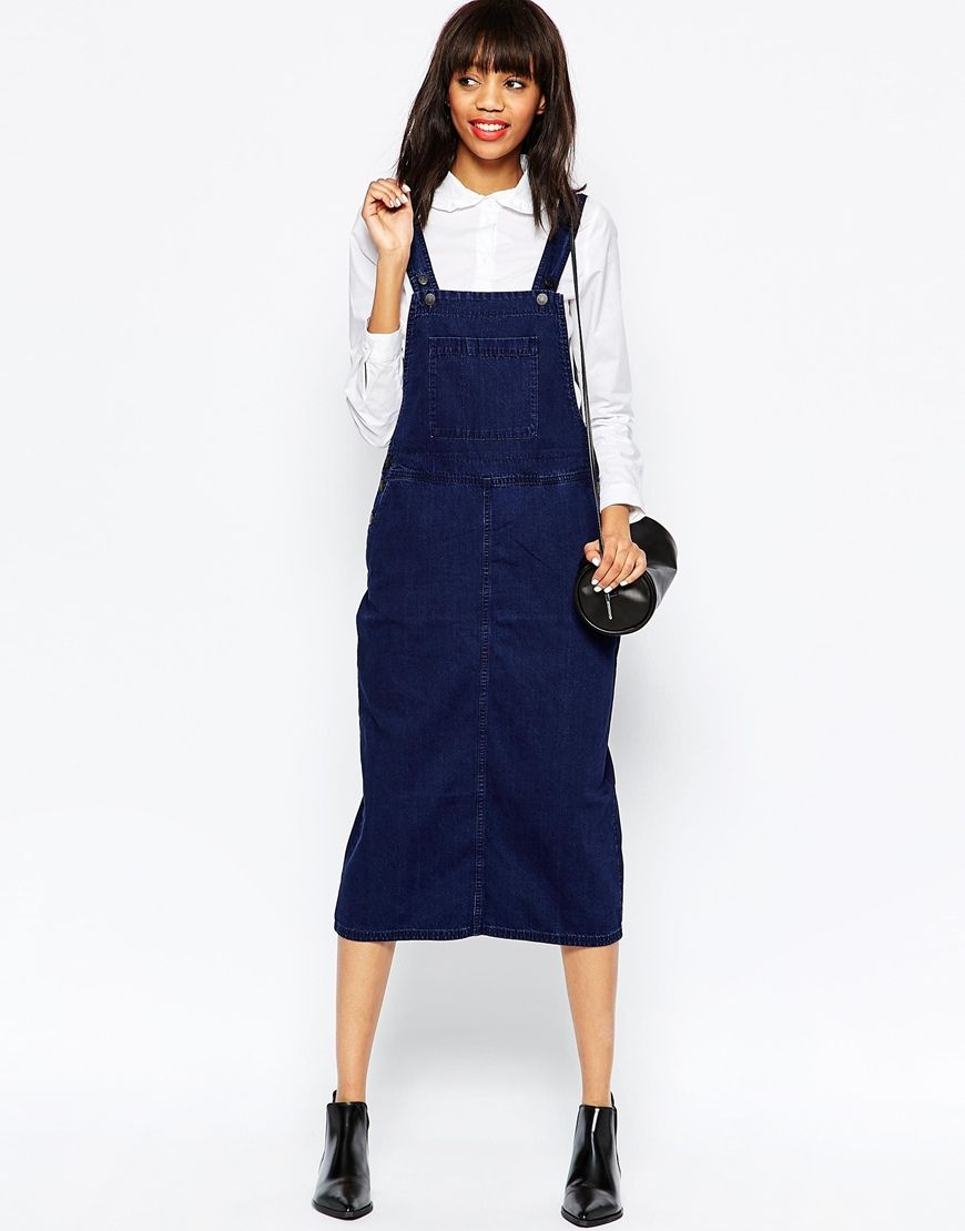 e250e85582 Image 4 of Monki Denim Overall Midi Dress