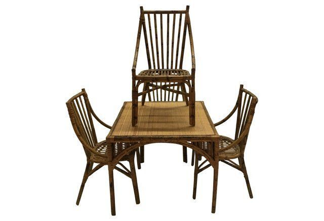 Tortoiseshell Bamboo Table u0026 Chairs - Set of 5 - Chic Transitions  sc 1 st  Pinterest & Tortoiseshell Bamboo Table u0026 Chairs S/5 | Wicker | Pinterest ...