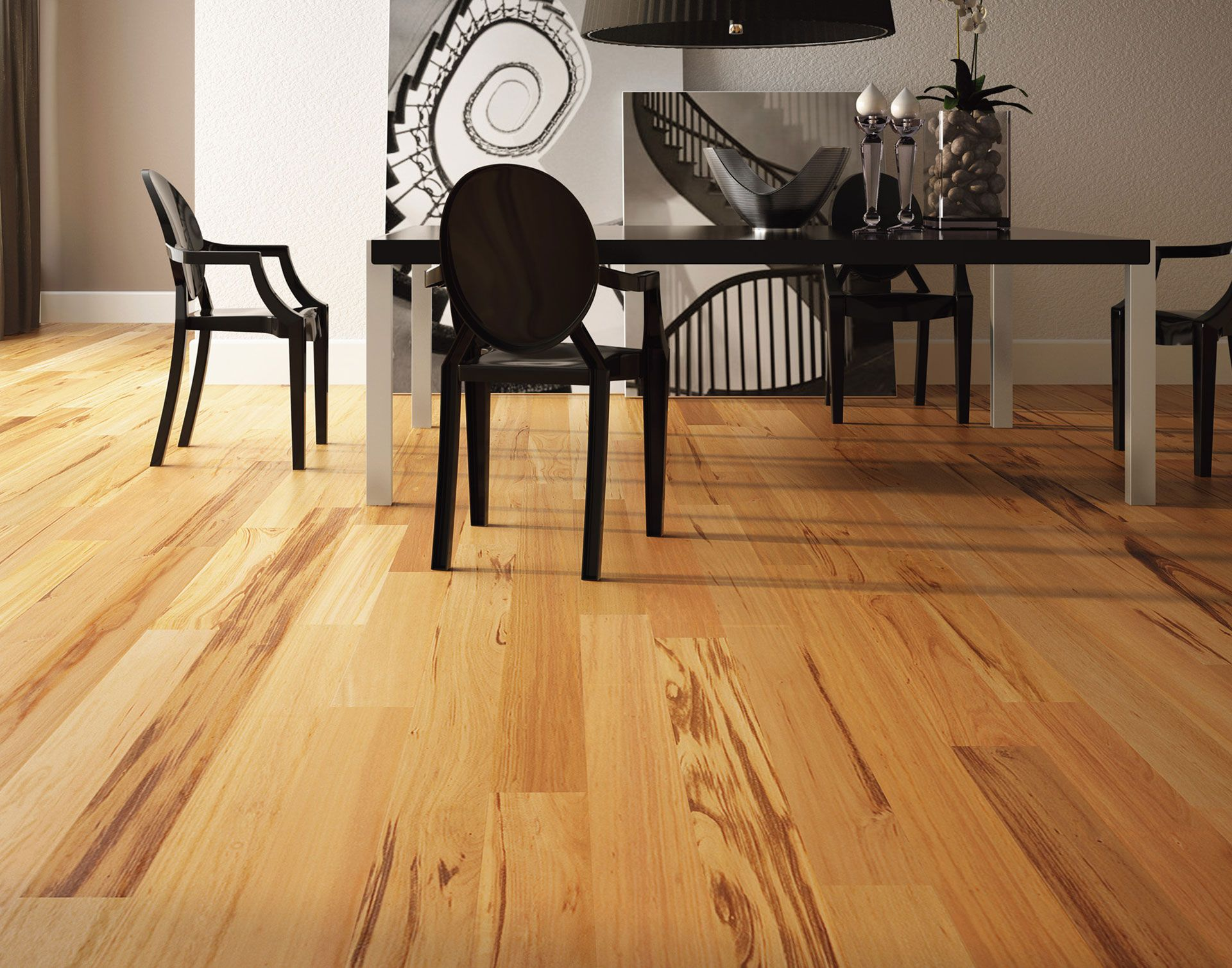 Engineered Hardwood Flooring For Interior Floor Decorating Ideas Wall Decor With Dark Wood Chairs And Black Table Plus