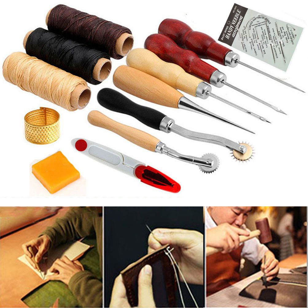 LEATHER CRAFT HAND Stitching Sewing Tools Waxed Thread Awl Kit -Sail