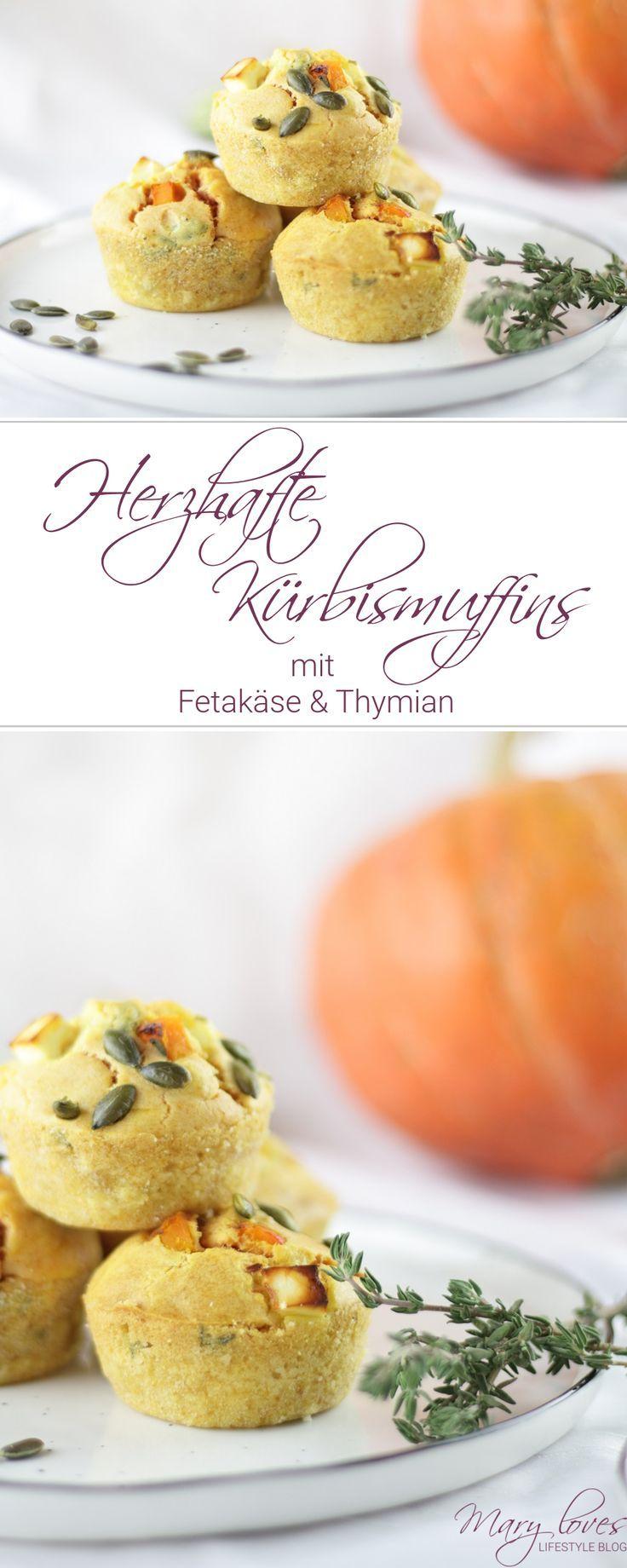Herzhafte Kürbismuffins mit Feta & Thymian - Mary Loves #pumpkinmuffins