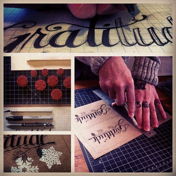 Our creative director @KidKreative hand-making Lovesocial holiday cards. Photo credit: Adrian Horvath.