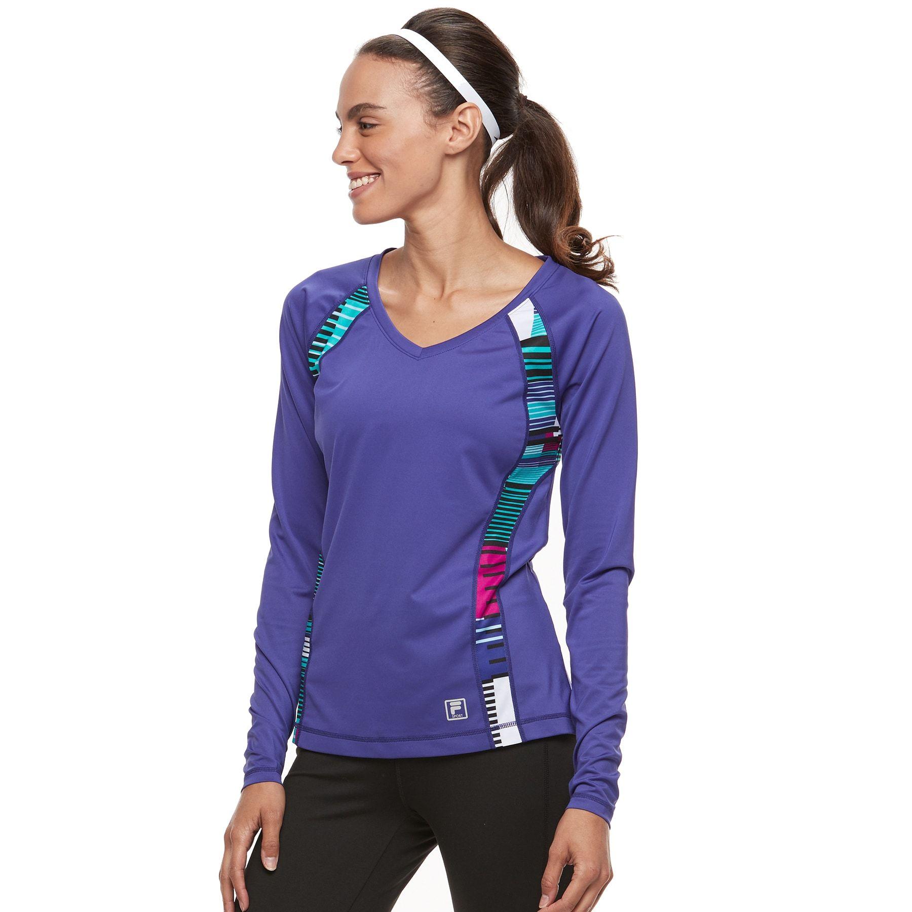 9a666f2e Women's FILA SPORT® V-Neck Long Sleeve Tee in Tori Purple Matrix ...