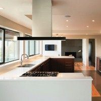 We Love The Large Work Surface And The Fantastic View From This Kitchen.  The Polar Cooker Hood Matches The Simple Lines Of The Kitchen Design.