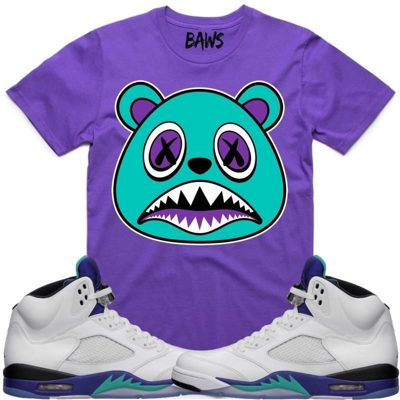 0549ffd4bb21ff AQUA BAWS Sneaker Tees Shirt - Jordan Retro 5 Fresh Prince White Grape