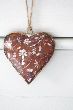 Brown and white floral heart ornament