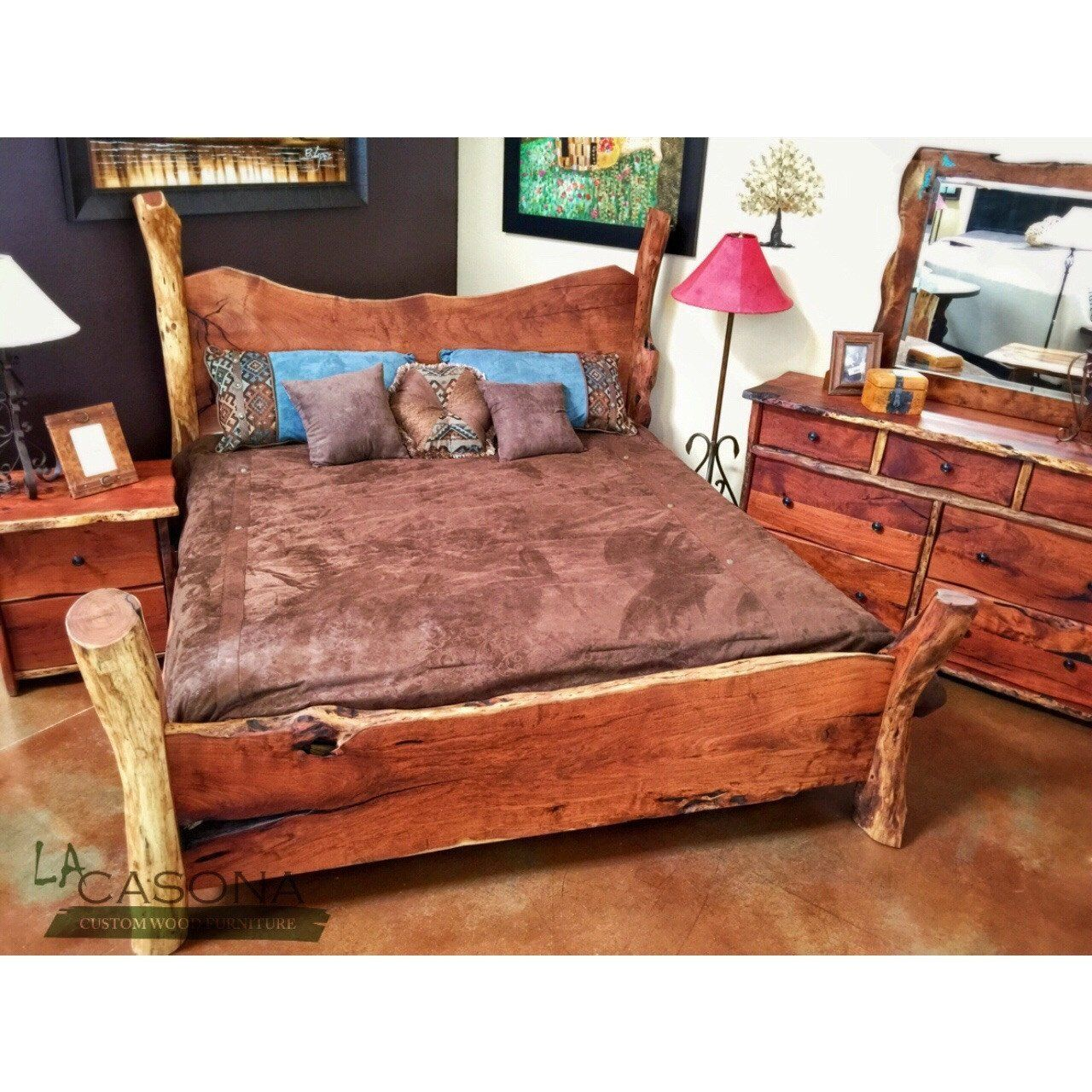 Live edge wood slab bed rustic design that fits well with any