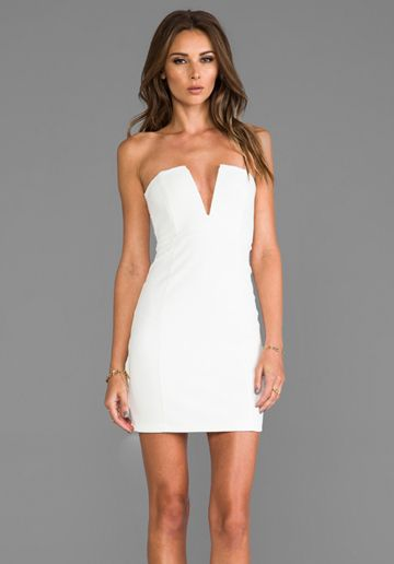 Nookie Rubix V Front Bustier Dress In White Gift Guide Party