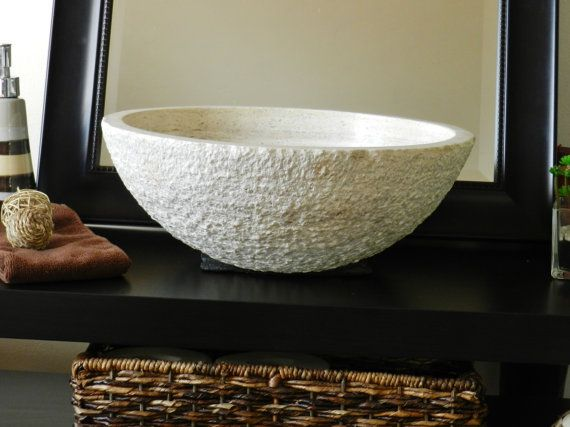 Natural Stone Round Vessel Sink Beige-CreamTravertine marble rustic