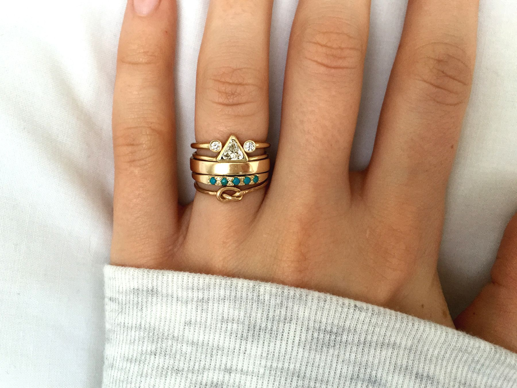 artemer studio gold horseshoe diamond ring, trillion diamond ring