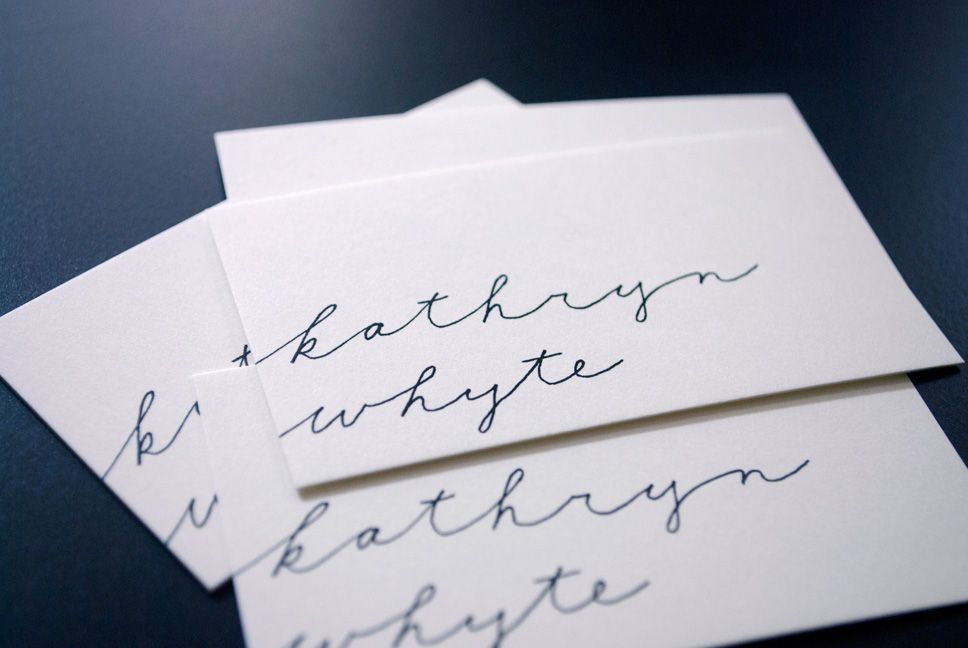 love the handwritten name on the business card ~ maybe could be ...