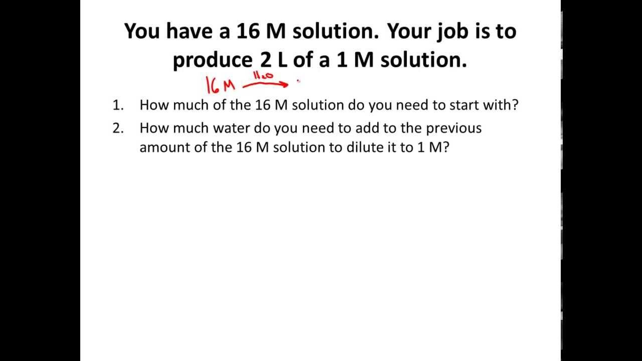 Dilutions M1v1 M2v2 Solving Dilution Problems In Solution