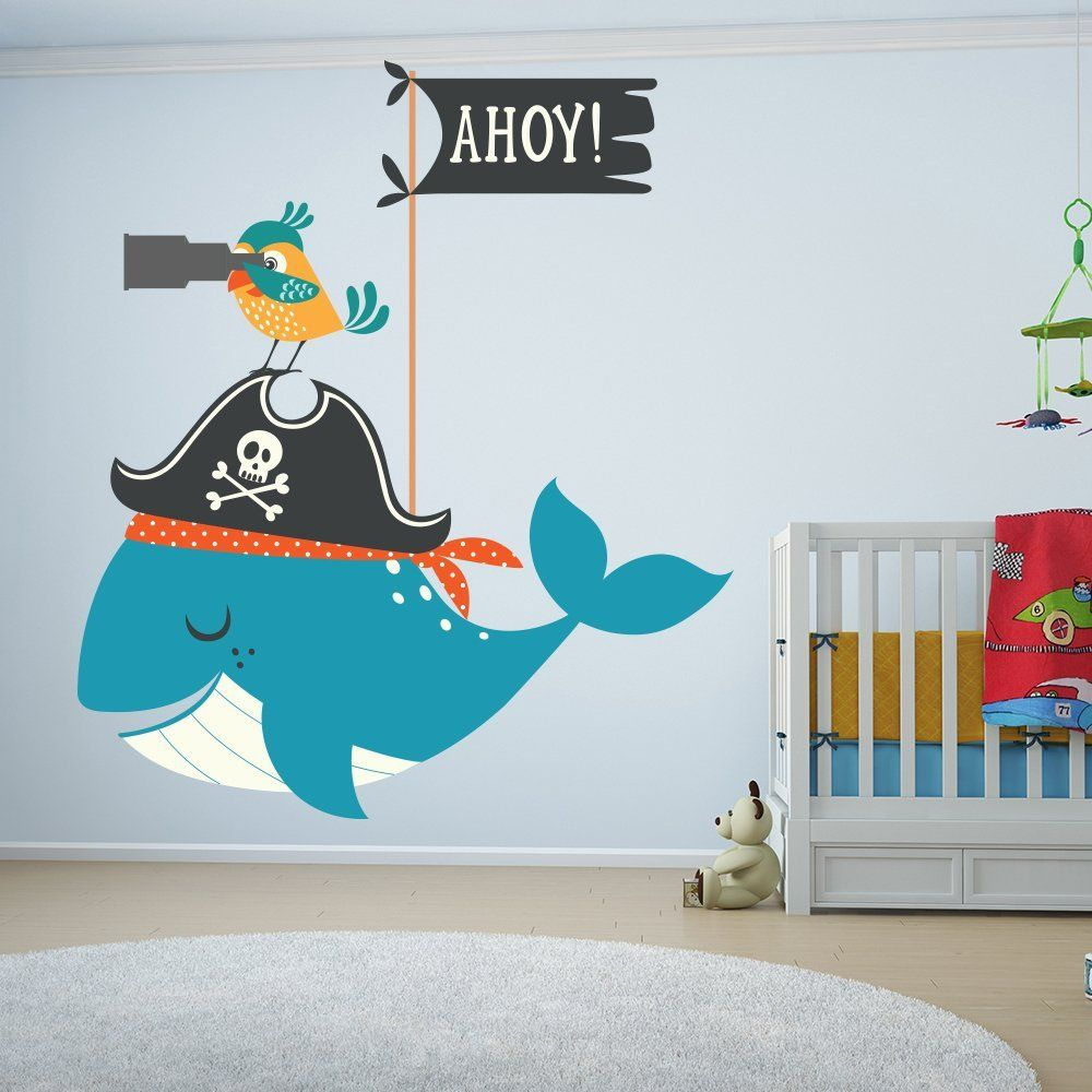 piratenzimmer piraten wandaufkleber wal und papagei tier wandtattoo bad kinderzimmer. Black Bedroom Furniture Sets. Home Design Ideas